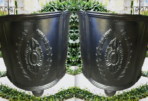 Antique Outdoor Garden Planters CAST IRON URNS Trophy Urn  Bench