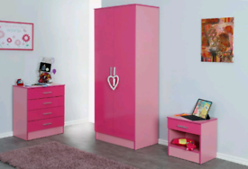 Pink Two Tone Gloss Effect 3 PIECE-Wardrobe, Chest and Bedside Cabinet