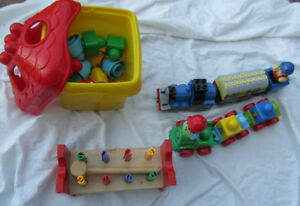 LEGO blocks, trains, hammer and block set, assorted toys