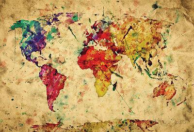 Vintage World Map Poster Print  19X13