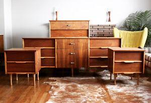 Refinished Mid-Century Modern Walnut Bedroom Set