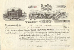 Page-Shaw-Candy-1918-Massachusetts-stock-certificate-signed-Shaw-Dunham
