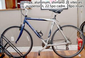 Trek velo hybrid, aluminum, suspension, 21 vitesses, 28po roues