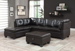 BRAND NEW 2 PC SECTIONAL WITH FREE STORAGE OTTOMAN .....