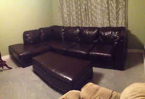 Leather sectional with matching ottoman