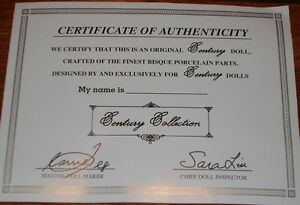 Genuine Porcelain Doll - Century Collection - with Certificate. Stratford Kitchener Area image 2