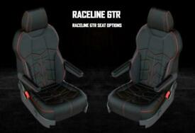 VW Transporter T6.1 T6 T5 EXCLUSIVE RACELINE LEATHER SPORTS SEATS - RED STITCH