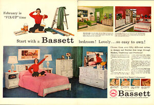1957 2-page (20 x 13 ¾ ) magazine ad for Bassett furniture