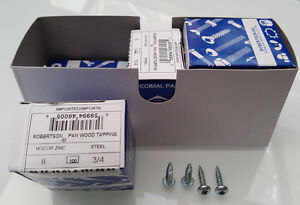 "Screws, pan wood tapping Robertson #2, 8 x ¾"" NEW/box only $15"