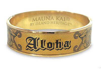 18mm Hawaiian Engraved Bangle Bracelet Jewelry Hawaii ALOHA Covered Gold Foil N