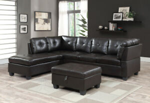 BRAND NEW 2 PC SECTIONAL WITH FREE STORAGE OTTOMAN ON SALE $799