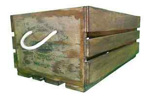 Vintage industrial rustic timber wooden storage apple crate