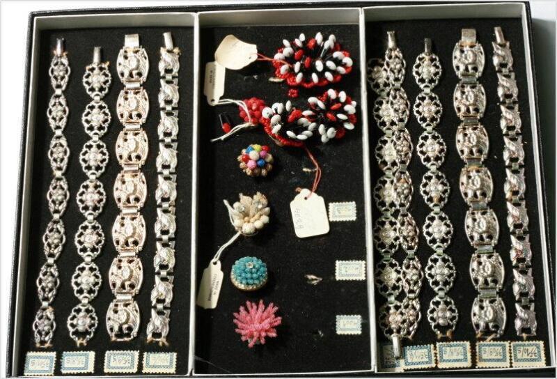 Rare vintage Czech boxed salesman sample jewelry set bracelets brooch earrings