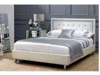 King size diamante white leather bed frame
