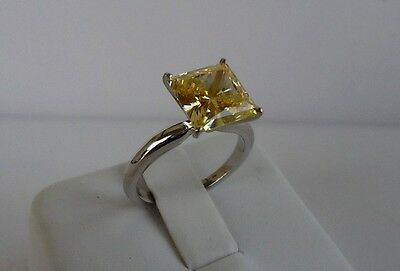 14K WHITE GOLD SOLITAIRE WEDDING RING W/ 3CT PRINCESS YELLOW   DIAMOND /SZ (White Gold Princess Diamond Solitaire)