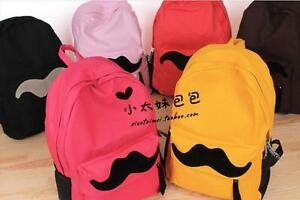 Woman-Girl-Cute-Mustache-Canvas-School-Book-Campus-Backpack-Bag