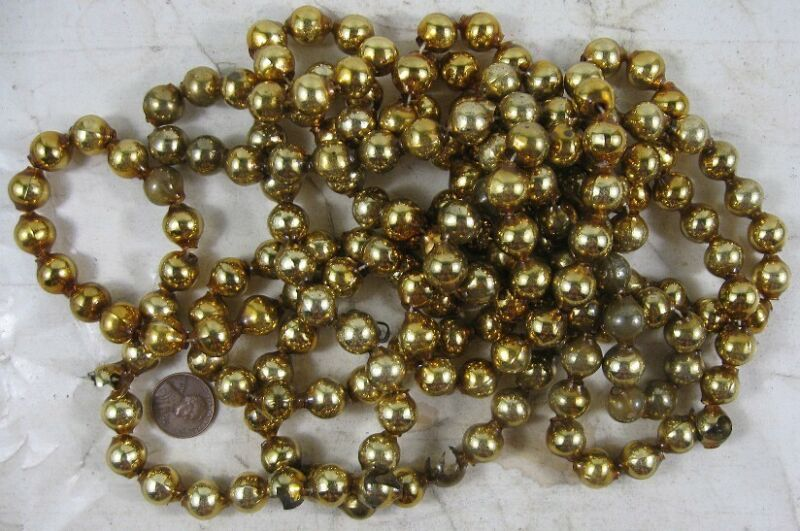 "Vintage Mercury Glass Bead Garland Gold 8 Foot 1/2"" #3"