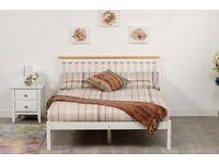 Double bed in white with caramel