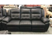 Leather recliner, 3 + 2 seater sofa and armchair