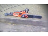 Black and Decker Electric Chainsaw, 2200W, 40cm blade - Good condition with recent new chain