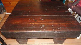 GOOD SOLID CONDITION, A NICE VERY HEAVY CHUNKY WOODEN SLEEPER COFFEE TABLE