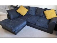 FREE DELIVERY 🚚 DUNELM BLACK & GREY FABRIC L-SHAPED CORNER SOFA EXCELLENT CONDITION