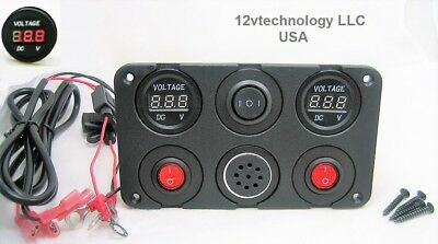Two 12v Battery Bank Voltmeter Monitors Charge State Alarms When To Recharge