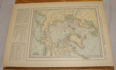 1908 Colliers Antique COLOR Map/ARCTIC REGIONS, b/w ANTARCTIC REGIONS