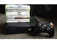 xbox 360 slim with 8 games