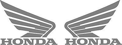 "#279 (2) 4.5""  HONDA wing motorcycle tank decal sticker SILVER Vinyl"