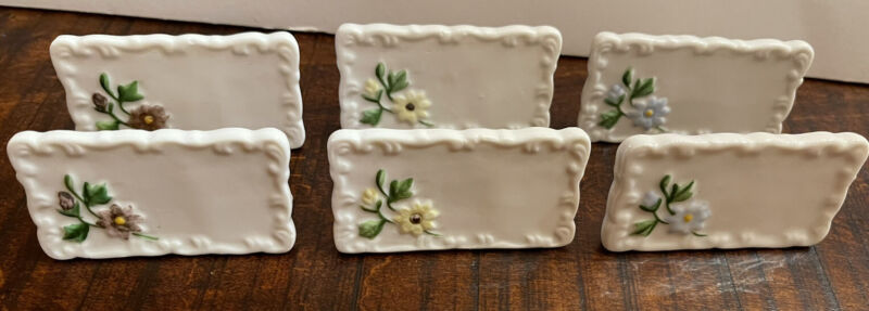 Vintage (Lot of 6) SHAFFORD PORCELAIN Place Cards Floral Name Plates NOS Taiwan
