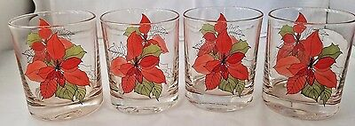 Red Poinsettia Old Fashioned Glasses Block Portugal Mary Lou Goertzen