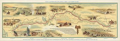 1961 pictorial map Shows route Pony Express names location stations POSTER 8246