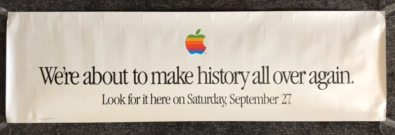 Vintage Apple Computers Poster Banner LARGE 60x18 Rainbow Logo Apple Sign