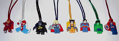 8 SUPER HEROES AVENGERS LEGO LIKE NECKLACE PARTY FAVORS PRIZE GOODY BAG GIFT - Superhero Goodie Bags
