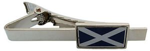 SCOTLAND SALTIRE SCOTTISH FLAG TIE CLIP PIN BADGE MENS GENTS NOVELTY GIFT POUCH
