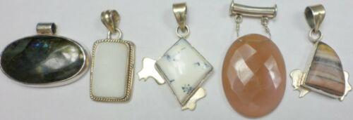5 Vintage 925 Sterling Silver Agate Jasper Labradonite+ Stone Pendants 56 Grams