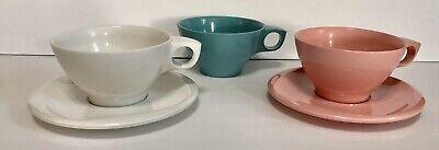 Vintage Melamine Melmac Boonton Ware Tea/Coffee Cup Set 3 cups 2 saucers
