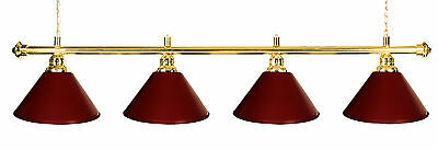 "72"" Pool Table Light  - Billiard lamp Brass Rod  Burgundy Metal Shades"
