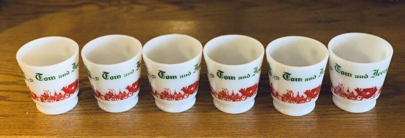1940's VINTAGE TOM & JERRY SET OF 6 HAZEL ATLAS MILK GLASS 5 CUPS