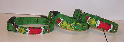 Wet Nose Designs Mean One Mr Grinch Dog Collar Christmas Green Background  ()