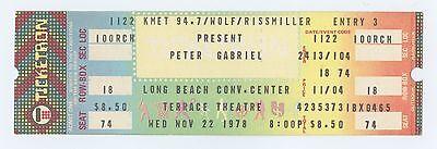 Peter Gabriel Ticket 1978 Nov 22 Long Beach Convention Center Unused