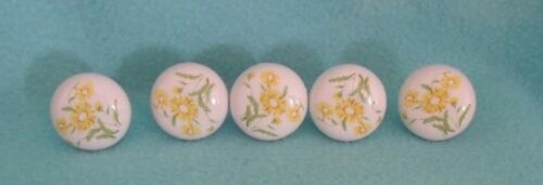 Vintage Porcelain Cabinet Drawer Knobs Yellow Flowers