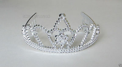 12 Plastic Silver Princess Queen Tiara Crown Comb Costume Birthday Party - Princess Tiara Favors