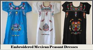 Large-XL-Plus-Size-Mexican-DRESS-Peasant-Smock-Embroidered-Boho-Vintage-Style