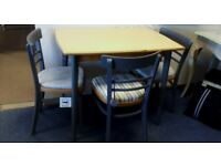 Stunning Retro Vintage Melamine Kitchen Table and Four Chairs Yellow and Grey