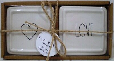Rae Dunn Artisan Collection Set of 2 White Jewelry Boxes Heart Love