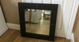 Large Leather Framed Mirror