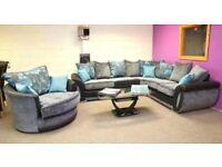 Designer corner sofa and cuddle chair DFS