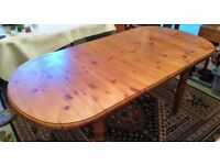 Solid pine table and 4 arm chairs